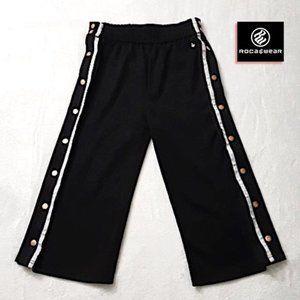 ROCAWEAR Black Track Pant White Stripe Snap Button